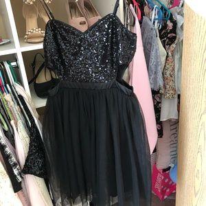 sequin cutout dress